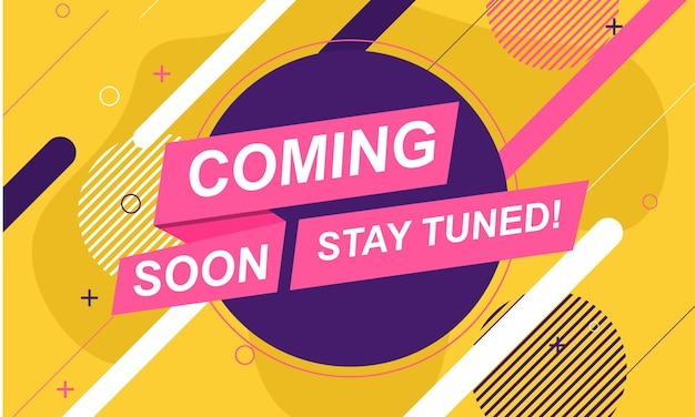 Coming soon banner background with abstract memphis shape.