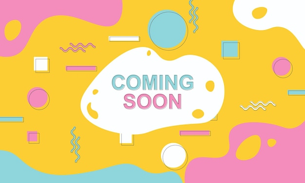 Coming soon banner background with colorful memphis elements.