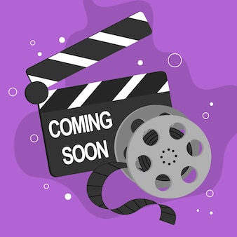 Coming soon banner background with film strip and clapper board vector illustration