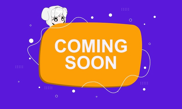 Coming soon banner background with flat style.