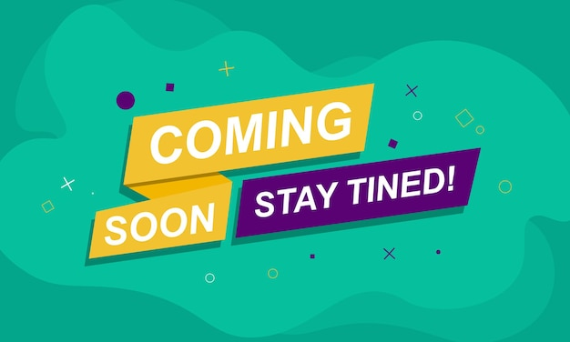 Coming soon banner background with simple color vector illustration