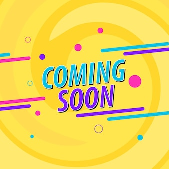 Coming soon banner background with swirl. vector illustration.