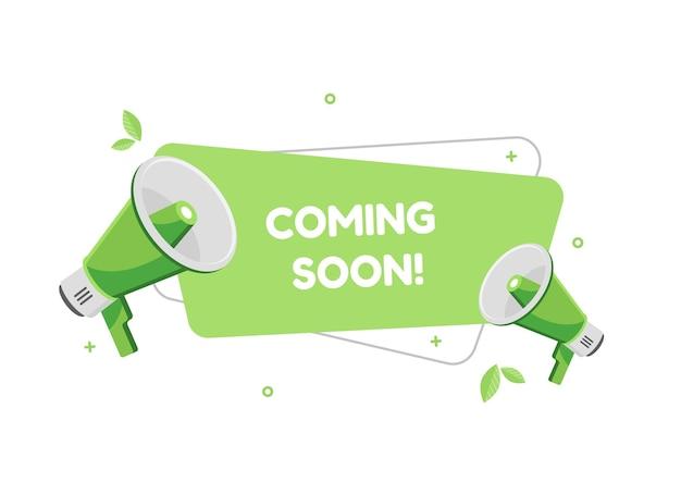 Coming soon banner with megaphones in flat design