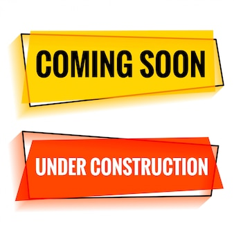 Coming soon and under construction two web banner