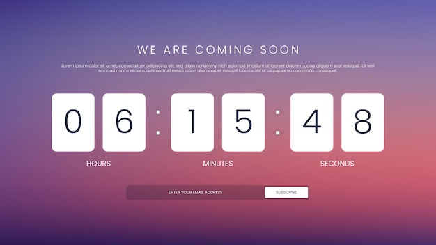 Coming soon countdown timer template for website