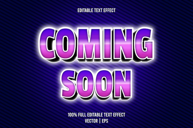 Coming soon editable text effect 3 dimension emboss neon style Premium Vector