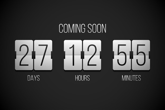 Coming soon flip countdown clock counter timer on a black background