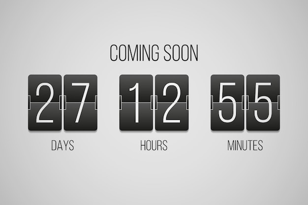 Coming soon flip countdown clock counter timer on a gray background
