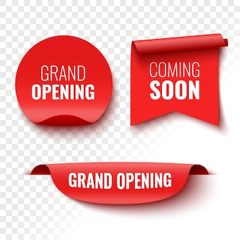 Coming soon grand opening banners red ribbon tag and sticker vector illustration