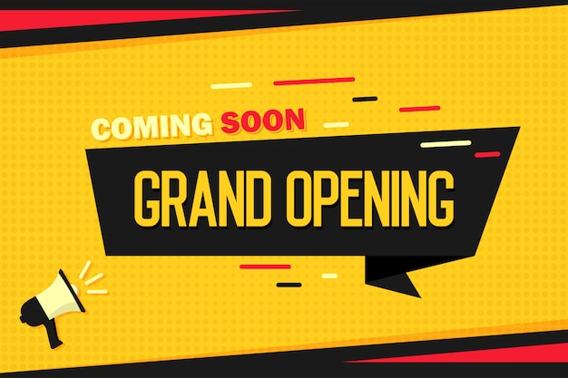 Coming soon grand opening. megaphone with ribbon banner and halftone.