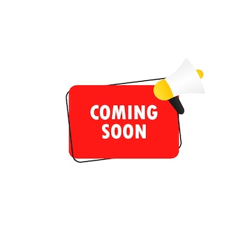 Coming soon icon. megaphone with coming soon message in bubble speech banner. loudspeaker. announcement. advertising. vector eps 10. isolated on white background