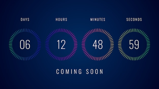 Coming soon illustration with colorful digital countdown clock counter timer