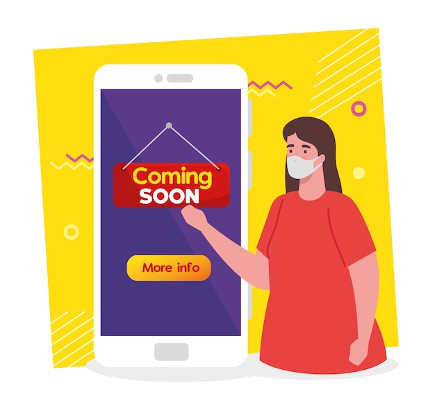 Coming soon message in smartphone, woman wearing face mask, reopening after quarantine due to covid19.