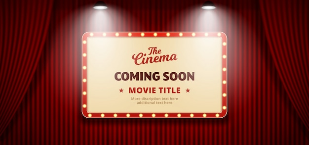 Coming soon movie in cinema design. old classic retro theater billboard sign on red theater stage curtain backdrop with double bright spotlight