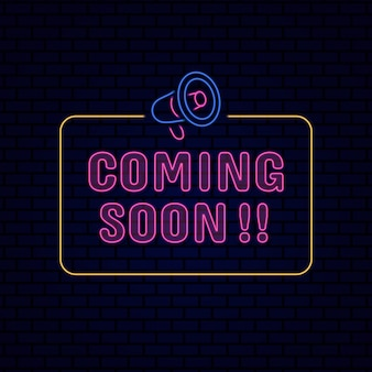 Coming soon, neon effect sign