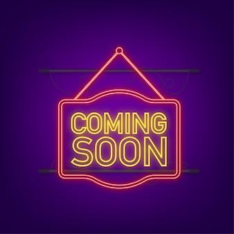 Coming soon neon hanging sign on dark background. sign for door. vector stock illustration.