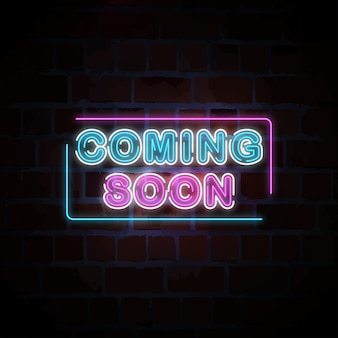 Coming soon neon sign illustration