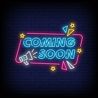 Coming soon neon sign style text vector