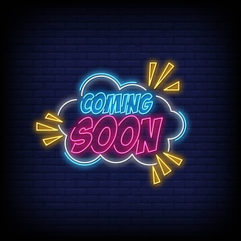 Coming soon neon sign vector for poster