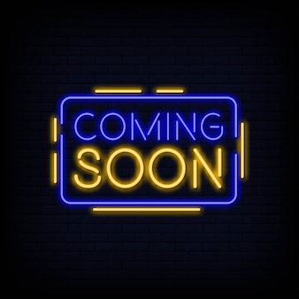 Coming soon neon sign vector