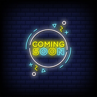 Coming soon neon signs style text design in round shape Premium Vector