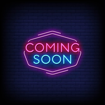 Coming soon neon signs style