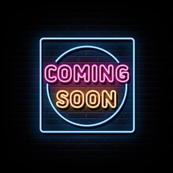 Coming soon  neon signs vector design template neon style