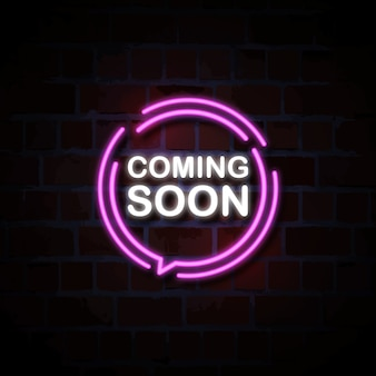 Coming soon neon style sign illustration