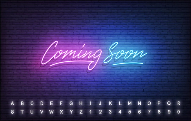 Coming soon neon template. glowing neon lettering coming soon sign.