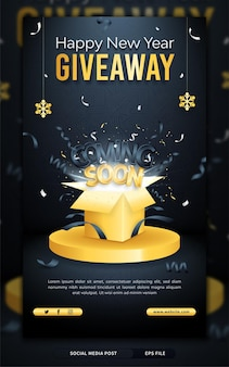 Coming soon new year giveaway, a social media story or poster template