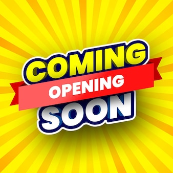 Coming soon opening banner on yellow striped background vector illustration