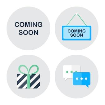 Coming soon shopping icons set. flat stylized icons set