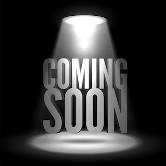 Coming soon in stage spotlight on dark background vector scene illuminated spotlight