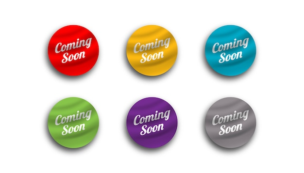 Coming soon sticker banner design template.