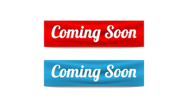 Coming soon sticker banner design vector template.