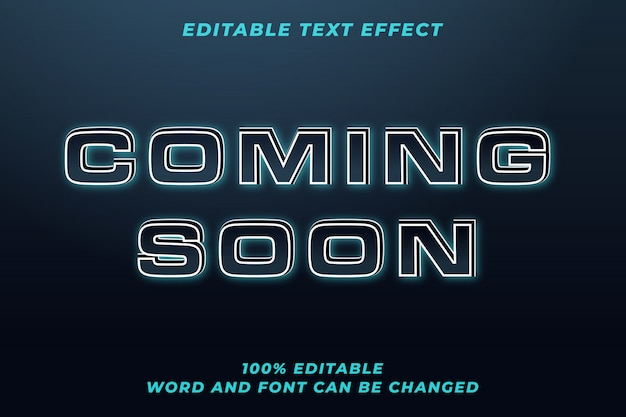Coming soon techno text style effect