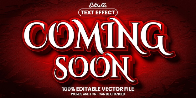 Coming soon text, font style editable text effect