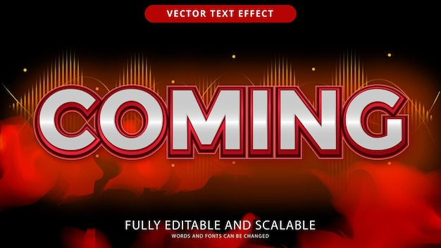 Coming text effect editable eps file