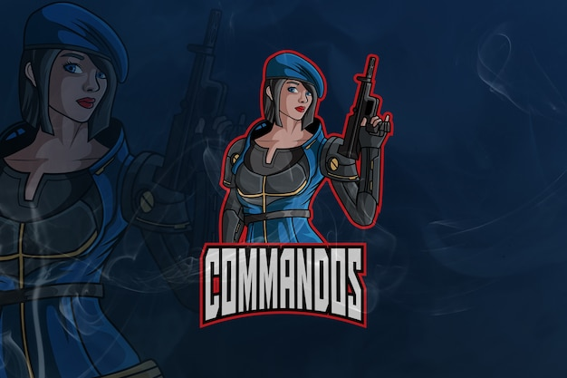 Commados gaming army mascot and esport logo