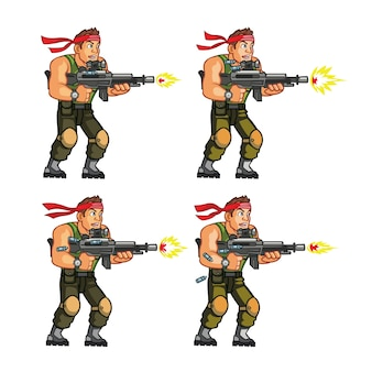 Действие commando game character animation sprite