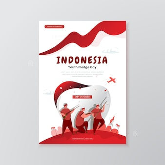 Commemorate of indonesian youth pledge day illustration on poster concept