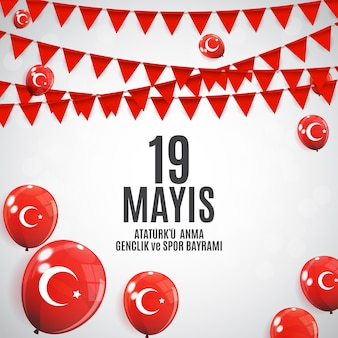 Commemoration of ataturk, youth and sports day background