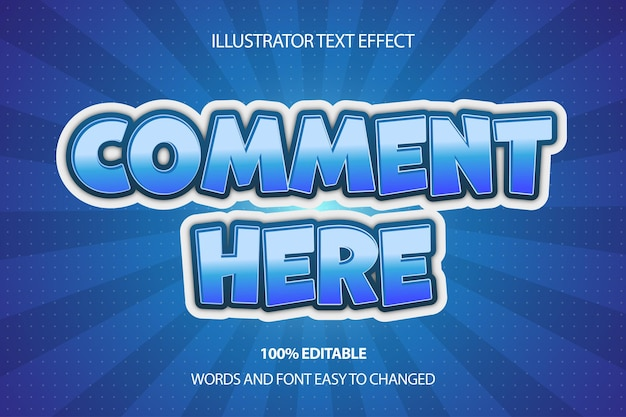 Comment here text effect