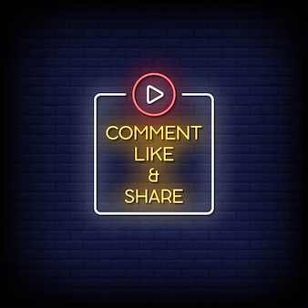 Comment like and share neon signs style text