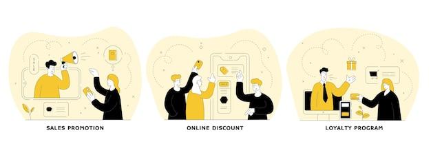 Торговля и торговля в наборе интернет плоской линейной иллюстрации. продвижение продаж, онлайн-скидки, программа лояльности. электронный маркетинг и продажи в интернет-магазинах. люди героев мультфильмов