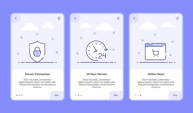 Commerce onboarding secure transaction 24 hour service online store for mobile app banner template