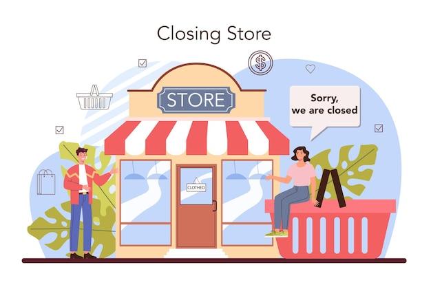 상업 활동. 상점을 폐쇄하는 기업가. 금융 위기 또는 시작 실패. 상점 소유, 소유자, 소매 및 상업용 부동산이 되는 개념. 평면 벡터 일러스트 레이 션