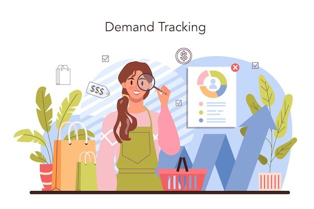Коммерческая деятельность. предприниматель отслеживает спрос на товары. маркетинговые данные для развития бизнеса. упаковка продукции для распространения. розничный процесс. плоские векторные иллюстрации