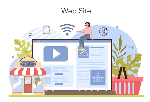Commercial activities online service or platform. entrepreneur opening or closing down a store. website. flat vector illustration