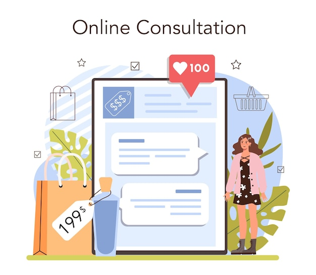Commercial activities online service or platform. entrepreneur putting goods on showcases. marketing and price politics. online consultation. flat vector illustration